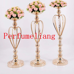 flower for pillar 2019 - 47cm 53cm 59cm Metal Gold Candle Holders Road Lead Table Centerpiece Stand Pillar Candlestick For Wedding Candelabra Flo