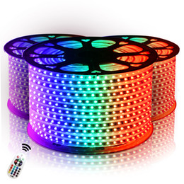 Venta al por mayor de Tiras de led 10M 50M 110V / 220V SMD 5050 RGB de alto voltaje Led tiras luces a prueba de agua + control remoto IR + fuente de alimentación