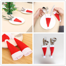 Bar Table Accessories Australia - Red Christmas Knife and Fork Sleeve Cute Flannelette Xmas Samll cap Ornaments Hotel Bar Table Decoration Christmas Tableware Cover Xmas Gift