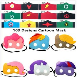 Discount mask designs for children - 32 Halloween Cosplay Masks 103 Designs Cartoon Felt Mask Children Felt Wristband Halloween Cartoon Character Bracelets K