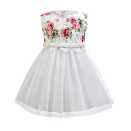$enCountryForm.capitalKeyWord NZ - Children White flower print dresses Tulle Skirt Formal Wedding Beading floral Princess Sundress Kids birthday Party wear for teenager girls