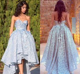 8f9d6d4ef597c 2018 Evening Dresses Sweetheart High Low Full Lace Pearls 3D Flowers Ball  Gown Party Dress Plus Size Light Sky Blue Backless Prom Gowns