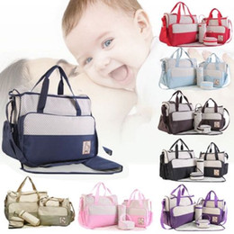 Diaper bags polka Dots online shopping - Baby Diaper Bag Set For Mummy Bag Baby Bottle Holder Stroller Maternity Nappy Bags Colors Cross Body Bags sets OOA5542
