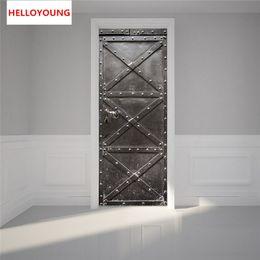 Box Gate NZ - Creative Iron Gate Imitation 3D Door Stickers 2pcs set DIY Mural Bedroom Home Decorative PVC Waterproof Wall Stickers