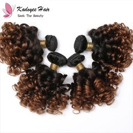 $enCountryForm.capitalKeyWord Australia - FREE Shipping Virgin Remy Human Hair Weave Bundles Short Bob Hair Weft Bouncy Curl Ombre Brown 1B 30 Extensions for Black Women