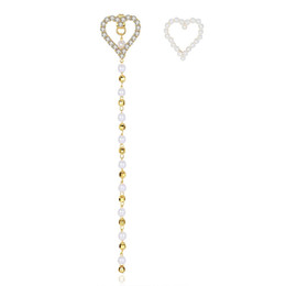 $enCountryForm.capitalKeyWord UK - Gold Golor Unique Tiny CZ Paved Heart Stud Earrings With Long Plastic Pearls Beaded Chains Wedding Earrings For Women