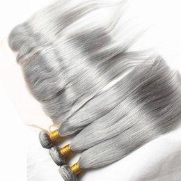 Ухо к уху кружева фронтальной закрытия с седыми пучками волос 8А индийской серой девственницы человеческих волос прямые ткет и 13x4 фронтальной на Распродаже