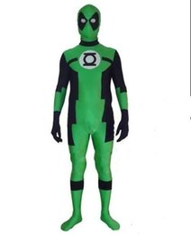 custom made costume deadpool UK - Fashion Green Lantern Deadpool Costume Halloween Superhero Lantern & Deadpool Costume