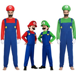 Super mario clothing online shopping - Halloween Cosplay Super Mario Bros Costume For Kids And Adults Funny Party Wear Cute Mario Luigi Set Clothes romper hat Beard KKA5689
