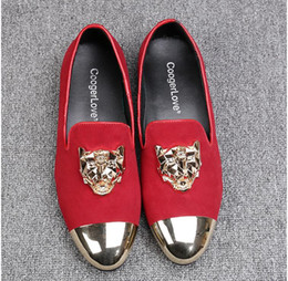 cc5bb4666841 New Fashion Men Red Velvet Loafers Slippers Buckle Men Velvet Shoes with  Gold Accents Prom and Party Loafers Slip on Men s Flats AXX656