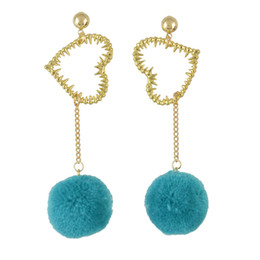 China idealway 3 Colors Korean Sweet Long Drop Earrings Plush Ball Heart Pendant Earring Women Girls Ear Accessory suppliers