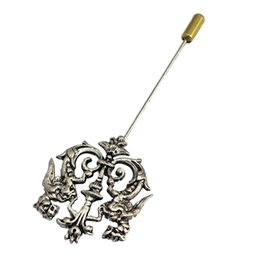 $enCountryForm.capitalKeyWord UK - Wholesale- Hot Unisex 3 Colors Dragon Shield Brooches Suit Shirt Corsage Lapel Stick Pin Chain Brooch Jewelry Gift For Men