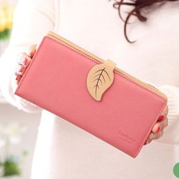 049331a06 Diseñador de la marca Mujeres linda hoja de la cartera cerrojo largo chica  billetera marca de cuero de las mujeres monedero femenino titular de la  tarjeta ...