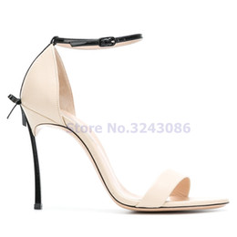 pink black butterfly dress NZ - Open Toe Butterfly Knot Metal Thin High Heel Shoes White Black Red Pink Sweet Concise Women Summer Sandals