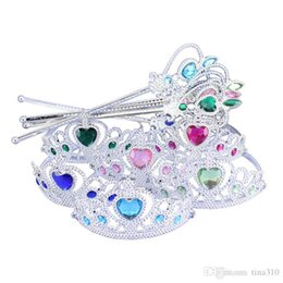 $enCountryForm.capitalKeyWord Australia - Snowflake ribbon wands crown set fairy wand girl Christmas party snowflake gem sticks magic wands headband crown tiara colorful IB702
