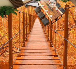 Autumn wAllpApers online shopping - 3d bathroom wallpaper Beautiful wooden bridge autumn forest bathroom D floor three dimensional painting