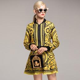 77888e4c8e 2018 Outono das mulheres Ruwnay Twinsets mangas compridas impresso jaquetas  com saias de dois conjuntos de vestidos de peça