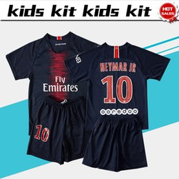 China #10 NEYMAR JR soccer Jersey Kids Kit 18 19 #10 NEYMAR JR home blue Soccer Jerseys #7 MBAPPE Child Soccer Shirts uniform jersey+shorts cheap red boy shorts suppliers