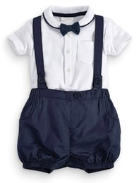 $enCountryForm.capitalKeyWord UK - Boy Rompers Suit Boys White T-shirt + Strap Pants + Bow Tie 3 Piece Party Wedding Suit For Boy Baby