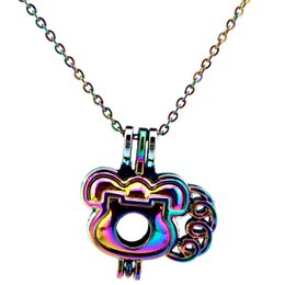 $enCountryForm.capitalKeyWord Australia - C639 Rainbow Color Babygirl's little phone Beads Cage Pendant Essential Oil Diffuser Aromatherapy Pearl Cage Locket Pendant Necklace