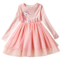 Discount long tutu skirt kids - Long sleeve baby girl dress horse rainbow printed children unicorn tutu skirts new fashion kids autumn clothing