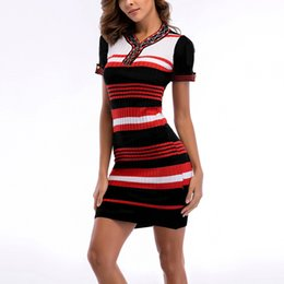 d5dd7f9e5d50 shortest tightest mini dress 2018 - BOFUTE New summer women s clothing  Retro Knitted Dress stripe Short