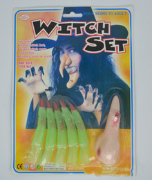 toy tool set wholesale Canada - 20set lot Halloween Party Witch Cosplay Set Evil Fingers Nose Props April Fools' Day Party Witch Decoration Tool Toys Supplies