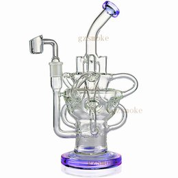 Perc PiPes online shopping - Glass Bong Dab Rig Recycler Oil Rigs awesome triple cyclone inline arm heady bongs gear perc water pipes bowl quartz banger purple pipe