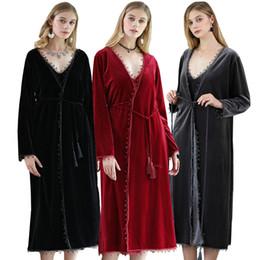 d26cb7df0e4c Hight Quality Winter Warm Velvet Bathrobe 2017 Warm Comfy Long Kimono Robe  for Women Black Red Sleepwear Nightgown Spa Robes