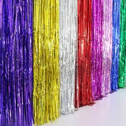 Metal Shade Wall Light Australia - Beautiful and colorful Metallic Fringe Curtain Party Home Room Stage Wall Decor Door Decoration Hot Sale Random Color