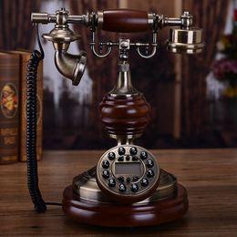 european telephone antique 2019 - Mu Yuzhen upscale European antique retro telephone landline Solid wood metal household fixed American creative electric