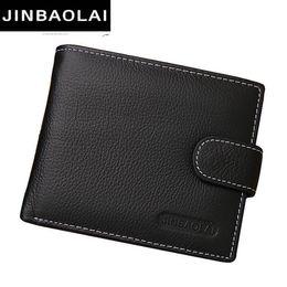 Опт JINBAOLAI кожа мужчины кошельки твердые образец стиль молния кошелек человек карты Horder кожа известный бренд высокое качество мужской кошелек