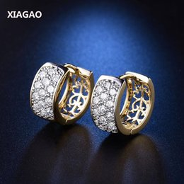 Wholesale Copper Hoop Earrings Canada - Wholesale- XIAGAO Fashion White Gold-color Hoop Earrings For Women High Quality Brincos Jewelry White Crystal Cubic Zirconia Earings