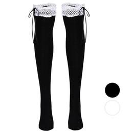 ea811221297f Wholesale-Fashion womens thigh high socks white Lace High Tube Socks Over  Knee socks Calcetines sale