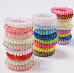 Wholesale 25pcs colors cm High Quality Telephone Wire Cord Gum Hair Tie Girls Elastic Hair Band Ring Rope Candy Color Bracelet Stretchy ScrunchyIN