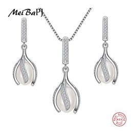 $enCountryForm.capitalKeyWord UK - MeiBaPJ High Quality Real Natural Pearl Jewelry Sets Fashion Real S925 Sterling Silver Flower Earrings & Pendant