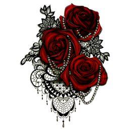 $enCountryForm.capitalKeyWord UK - Big Red Rose Waterproof Temporary Tattoos men tatuajes temporales necklace harajuku fake tattoo body feminino seleeve tatoo