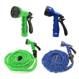 Discount magic hose wholesale - 100FT Expandable Flexible Garden Magic Water Hose With Spray Nozzle Head Blue Green with retail box Free Shipping