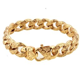 Chunky Curb Chain online shopping - Hot Sale New Design Closure Chunky Double Curb Chain Bracelet for Men Gold Color Stainless Steel Male Punk Jewelry