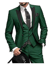 Wholesale The latest design men s suit green Slim classic groom wedding ball dress Italy custom piece jacket vest pants