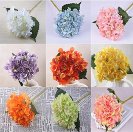 colors silk NZ - Artificial Hydrangea Flower Head Fake Silk Single Real Touch Hydrangeas 14 Colors Wedding Centerpieces Home Party Decorative Flowers