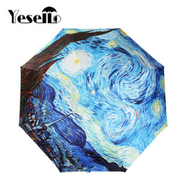 $enCountryForm.capitalKeyWord NZ - Drop Shipping Yesello Vincent van Gogh Oil Painting Starry Night Three Folding Umbrella 8 Rib Wind Resistant Frame For Women