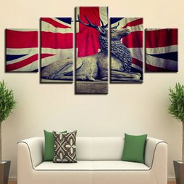 Art Canvas Prints Australia - Modern Framework HD Printed Pictures Living Room Home Decor 5 Pieces UK Flag And Deer Canvas Paintings Wall Art Modular Posters