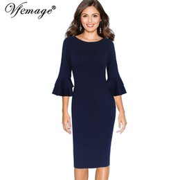 e0eab6e86ca Vestido lápiz vintage de negocios online-Vfemage Mujeres Otoño Elegante  Flare Bell 3/4