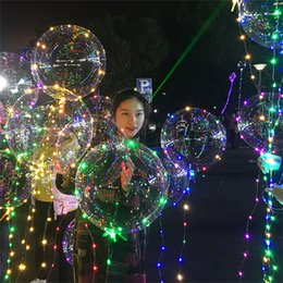 "Flower Balloons Australia - LED Light Bobo Ball Balloon Flashing Wave Night Lights 3M String 20"" LED Luminous Transparent Balloons Xmas Party Wedding Decoration Toys"