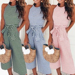 Wholesale Pink Sashes Australia - Women Summer O-neck Bowknot Pants Playsuit Sashes Pockets Sleeveless Rompers Overalls Sexy Office Lady Striped Jumpsuits