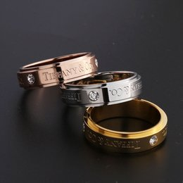 Gold couple love bands enGaGement rinGs online shopping - Hot sale Titanium steel silver rose gold love ring with diamond rose gold silver gold ring for lovers couple ring PS6466