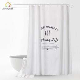 Scenic Curtains Australia - Aimjerry White Shower Curtain Fabric Waterproof Mildewproof Modern bathtub Bathroom Curtain With 12 Hooks Custom 71*71 inch 060
