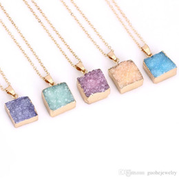 Crystal Geode Wholesale Australia - statement necklaces for women Square natural stone necklaces Druse geode crystal pendant necklaces
