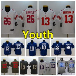 Youth 13 Odell Beckham Jr New York Giants Kids Football Jersey Stitched  Embroidery 26 Saquon Barkley 10 Eli Manning Boys Football Shirts 8c059bd6c